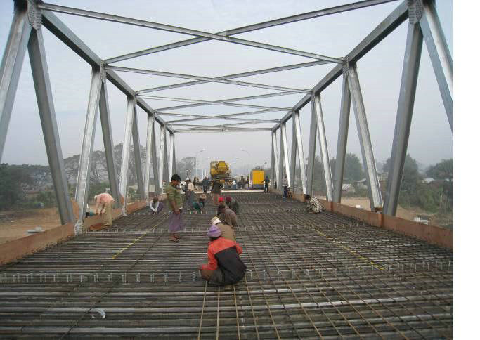Amphibious Steel Truss Prefabricated Delta Bridge Simple Structure